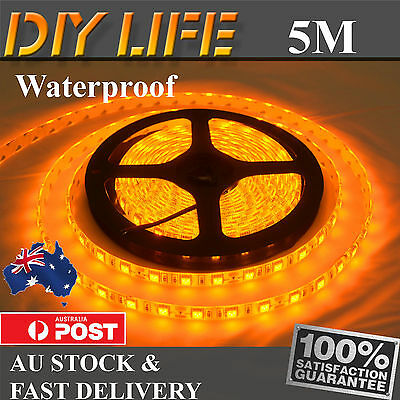 Waterproof 5M Amber Yellow 12V 5050 SMD 300 LED Strips Led Strip Lights car boat