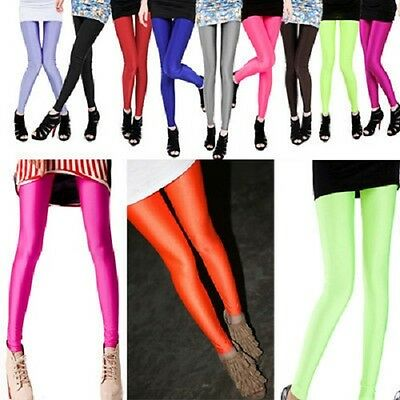 New ladies wet look Dance Neon Candy Shiny Yoga Disco Leggings Pants Trousers