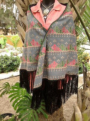 Vintage Ethnic India Embroidered Fringed Shawl Poncho Cape Wrap Rebozo Pink/Teal