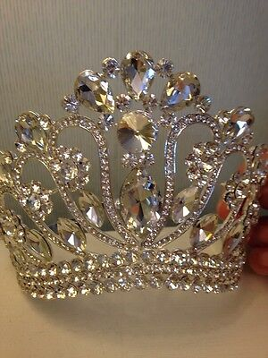 10 Cms Tall Austrian Crystal Tiara Crown . Beautiful ! Wedding / Prom / Stage