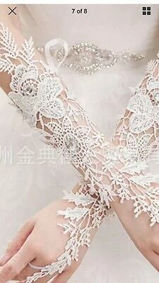 Long White Lace Gloves With Crystals . Long Wedding Gloves . Lacey Long Gloves