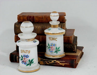 Antique Apothecary Bottles Smelling Salts & Tonic Cased Glass w/Ground Stopper