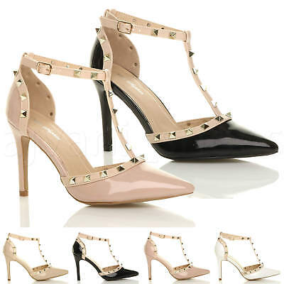 Womens Ladies High Heel Contrast Studded T-Bar Pointed Court Shoes Sandals Size
