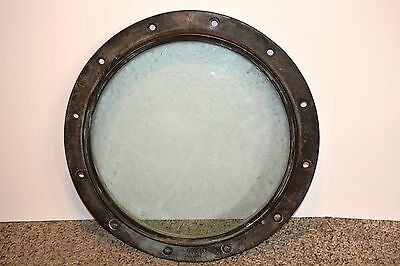 Vintage Large, Heavy Brass and Glass Ships  Porthole