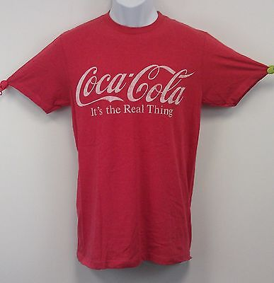 Coca Cola T-Shirt Coke Tee Red Heather Crew NWT Asst Adult Sizes The Real Thing
