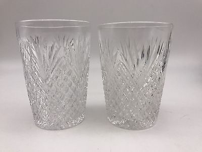 "Set of 2 ABP Cut Glass Strawberry Diamond & Fan 5 Oz. 3 1/2"" Tumblers (524)"