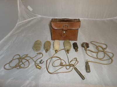 *antique Gun Cleaning Kit In Leather Case- Shooting Collectables*