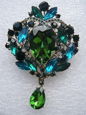 Huge 3,9'' Vintage Style Blue Green Stones Brooch Made With Swarovski Crystals