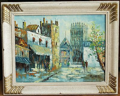 """Vintage Oil On Canvas Painting - Signed """"Alisher"""" - European Cityscape"""