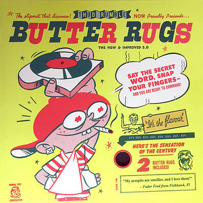 "Qbert Butter Rugs Version 3.0 12"" Slipmats (black, pair) DJ Thud Rumble Scratch"