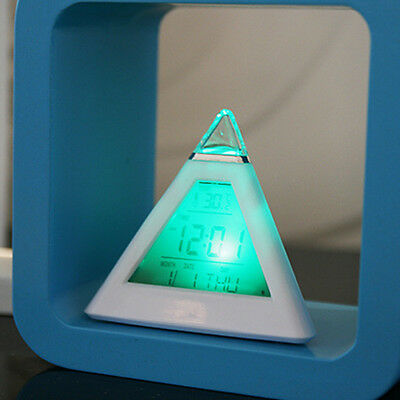 Cute 7 LED Changing Color Pyramid Alarm Desk Clock Thermometer ℃&℉ Display