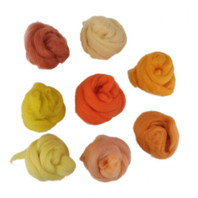 8pcs Pure Wool Needle felting Top Roving Dyed Spinning Wet Fiber #4