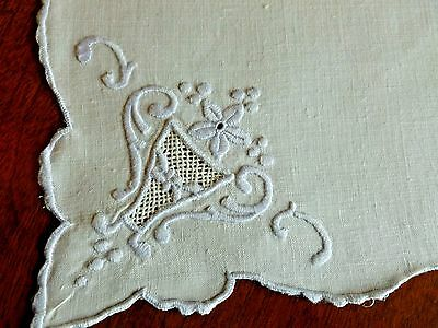 Gorgeous Antique MADEIRA Linen Napkins Hand Embroidery Appenzell