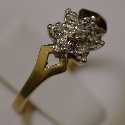 10k Yellow Gold Cluster Diamond Ring, Band Size 6.25