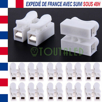 10X Connecteur Alimentation 12V 10A Rapide A Pression Double Ruban Led Camera