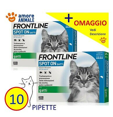 10 PIPETTE (+OV) - Frontline Spot On Gatto - 4 pipette Antiparassitario gatti