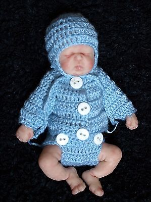 Handmade Crochet Outfit Clothes For 7 inch OOAK Mini Baby Silicone Clay Doll