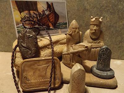 Celtic Viking collection - statue chess pieces + long boat amulet + Dog necklace