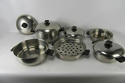 12 Piece Set of Stainless Steel Rena Ware 3 Ply Pots Pan Boiler Stock Sauce Lids