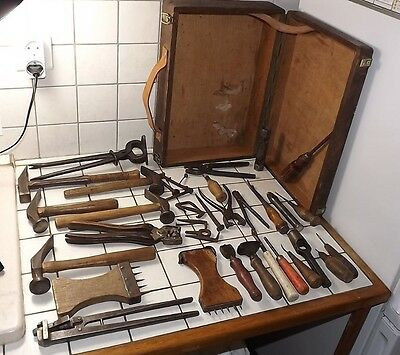 Antique German lot of tools cobbler leather tools shoemaker shoe repair w/box(2)