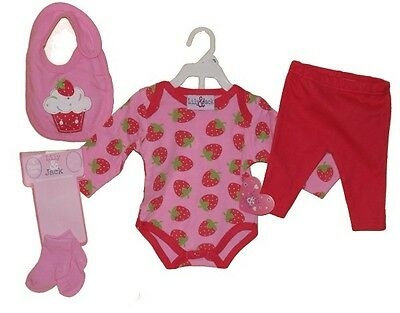 LILY & JACK 4 piece BABY GIRL strawberry  set nb 0-3 3-6 6-9 mths NEW!!