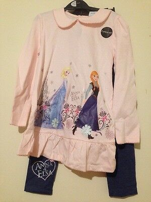 DISNEY FROZEN ANNA & ELSA  LONG SLEEVED TOP AND LEGGINGS SET 2 piece 5 6 7 8 9 1