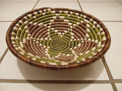 Rare Antique Vintage Native American Indian Weave Basket Bowl Green Brown White