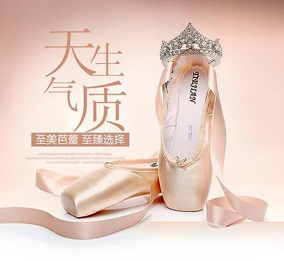 Professional Satin Ballet Shoes Dance Toe Shoes Canvas Pointe Shoes with Ribbon
