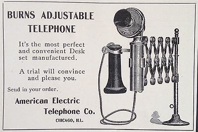 Antique 1905 Ad(F6)~American Electric Telephone Co. Chicago. Adjustable Tel.