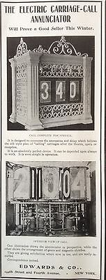 Antique 1902 Ad(F10)~The Electric Carriage Call Annunciator.edwards & Co. Ny.