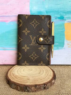 LOUIS VUITTON Brown Monogram Canvas Small Agenda Note Pad Cover w/ Pencil SALE!