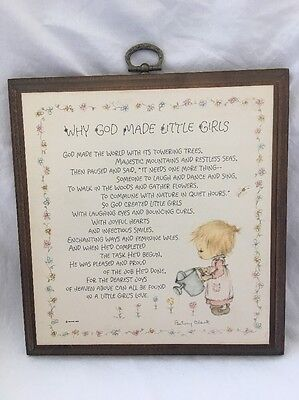 Vintage Hallmark Canada BETSEY CLARK Plaque WHY GOD MADE LITTLE GIRLS Poem
