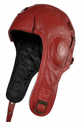 Leder Cabriomütze Pilotenmütze Ledermütze leather Hat Cap Pilot Aviator rot red
