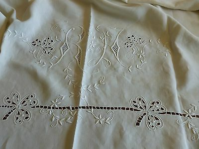 Exceptional French Antique Linen Layover Half Sheet Monogram Embroidery