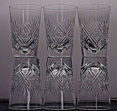 "6 Thomas Webb  Crystal ""st Andrews"" Cut Whisky Flat Tumblers Juice Glasses"
