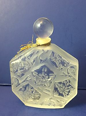 Vintage J C Brosseau Frosted Glass Perfume Bottle Empty