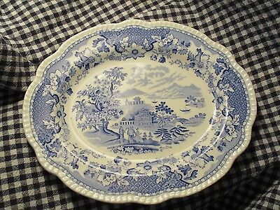 "Antique-Platter-""Seaforth""-Blue And White Transfer Ware -11""long-9 1/4"" wide"