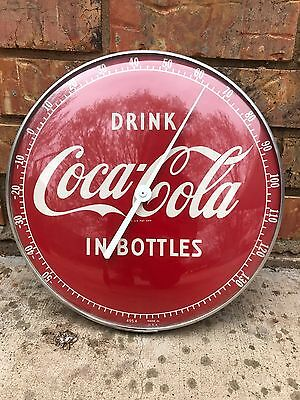 """Vintage 1950's 12"""" DRINK IN BOTTLES Coca-Cola  Thermometer"""