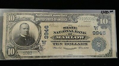 1902 series $10 banknote from the State National Bank of Marlow Oklahoma