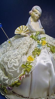 Vintage Pin Cushion Doll Dressed With Vintage Lace And Flowers
