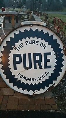 "PURE OIL CO. 42"" VINTAGE DOUBLE SIDED Porcelain with Trim ring"