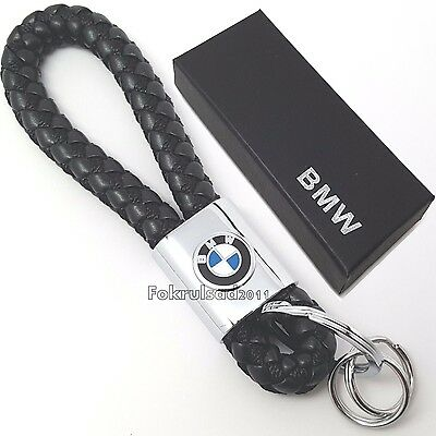 BMW PU leather & chrome metal key ring with gift box