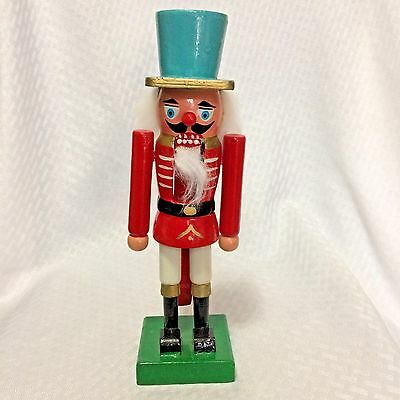 Christmas Wooden NUTCRACKER 10in Soldier Light Blue Hat Movable Mouth Base