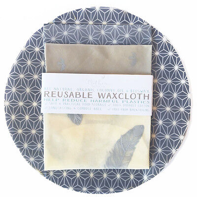 3pack Reusable Beeswax & Organic Coconut Oil Wraps, Cotton Eco Safe Food Storage