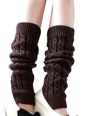 Women s Cable Knit Leg Warmers Ribbed Crochet Legging Long Boot Socks Coffee
