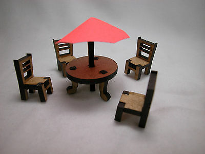 "Dollhouse Miniature 1/4"" Scale 1:48 Outdoor Patio Set  Made of  Plywood #Z293OR"