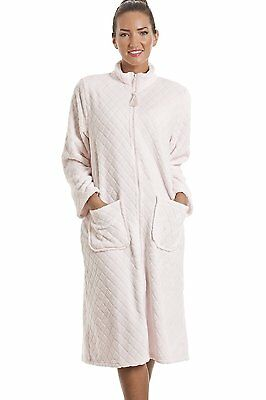 Camille Womens Nightwear Sleepwear Soft Fleece Pink Zip Bed Jacket House Coat