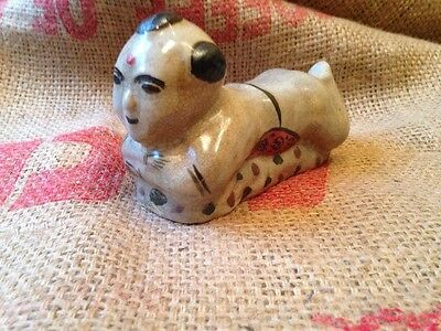 Antique Chinese Porcelain Baby Neck Pillow Hand Made Painted Boy Very Old
