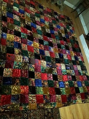"Antique Vintage Colorful VELVET PATCH QUILT BLANKET Throw Handmade 82""x100"""