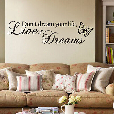 Best Removable Quote Word Decal Vinyl DIY Room Decor Art Wall Stickers Bedroom